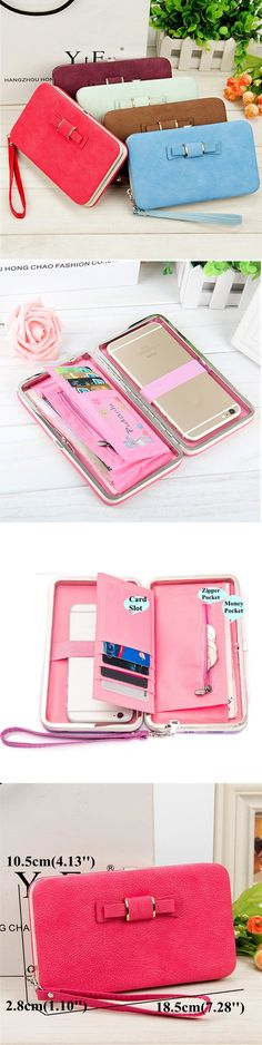 US$8.79 Women Bowknot Universal 5.5 Inch Phone Bag Wallet PU Phone Case For Iphone,Xiaomi,Samsung,Sony,Huawe