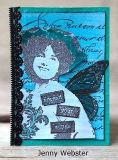 Artist Trading Card by Jenny Webster using Darkroom Door Little Dreams Rubber Stamp Set. http://www.darkroomdoor.com/rubber-stamp-sets/rubber-stamp-set-little-dreams