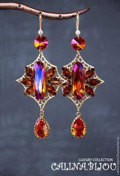 Купить Серьги позолоченные с кристаллами  Сваровски - золотой, розовый, оранжевый, яркий, ярко-оранжевый