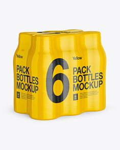 6 Pack Plastic Bottles Mockup. 3/4 View. Preview