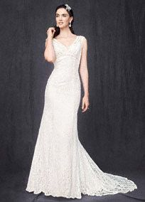 Allover beaded lace trumpet gown with empire waist and cap sleeves.   Chapel train.  Available in stores and online in Ivory/Champagne.  Solid Ivory and Solid White available for special order in stores.  Petite: Style 7T9612. Sizes 0P-16P. (special order only).  Woman: Style 9T9612. Sizes 14W-26W.  (special order only).    *SPECIAL VALUE! Was ; Now ! (final selling price; no additional discount may be applied).  To preserve your wedding dreams, try our Wedding ...