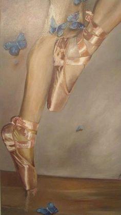 Ascend satin pink ballet shoes ballerina blue by GilstarDesigns Pink Ballet Shoes, Pointe Shoes, Toe Shoes, Pastel Shoes, Ballet Art, Ballet Dancers, Ballerinas, Ballet Painting, Blue Peach