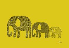 Yellow elephants in tow