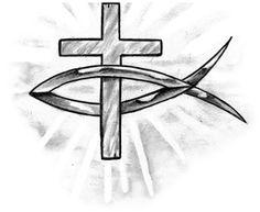 Jesus Fish And Cross Tattoo Design