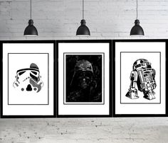 3 Star Wars Poster Star Wars Baby Star Wars Party Wall Art Stormtrooper Helmet r2d2 Baby Art Print Darth Vader Home Decor Painting by LACOTEDESIGN on Etsy https://www.etsy.com/listing/225878903/3-star-wars-poster-star-wars-baby-star