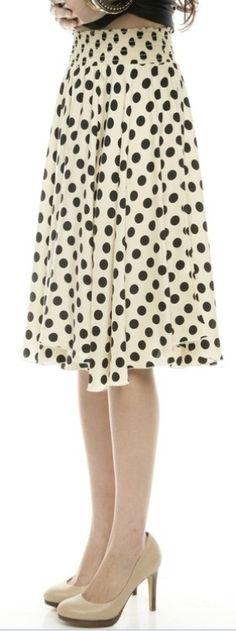 Black & Ivory Dot Silk Circle Skirt, Boutique Darling.
