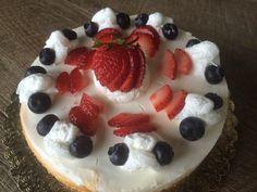 of July fresh berry cheesecake! Namesake Cheesecake, Menlo park ca Layer Cheesecake, Berry Cheesecake, Menlo Park, 4th Of July, Berries, Fresh, Baking, Board, Desserts