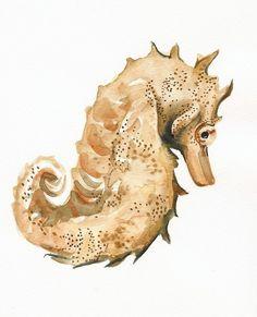 Seahorse art- Archival print, nautical decor via Etsy