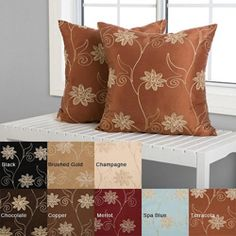 @Overstock - An embroidered floral design graces these Countess decorative pillows.  This throw pillow set is constructed of a modern embroidered slub taffeta.  http://www.overstock.com/Home-Garden/Countess-18-inch-Decorative-Pillows-Set-of-2/5543102/product.html?CID=214117 $35.99
