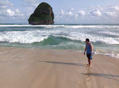 Chinese cave beach. Pantai goa cina. Malang, Indonesia. Waves, and sand.
