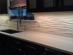 Perfect for the bathroom (in blue)....Unusual Materials: Modular Panels - 30 Splashy Kitchen Backsplashes on HGTV I like this idea, but in a different color.