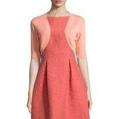 Lela Rose Half-Sleeve Cropped Shrug ($395) ❤ liked on Polyvore featuring outerwear, coral, cropped shrug cardigan, cropped shrug, cropped cardigan shrug, cardigan shrug and red shrug
