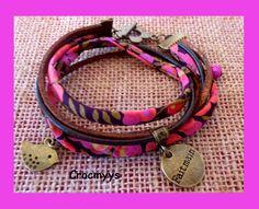 Bracelet liberty wiltshire rose et marron : Bracelet par crocmyys