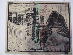 Guillaume Allyson - Héron (2013), Linogravure sur matériaux mixtes, 12 x 10 pouces, Prix : 150 $