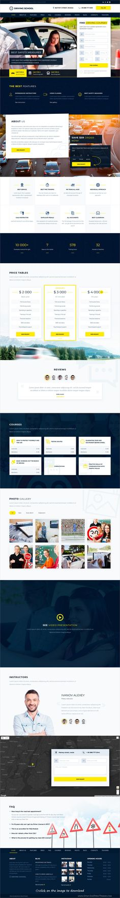 Beautiful and modern design 6in1 responsive #WordPress theme for #driving schools and #training centers website download click on image.