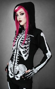 Restyle Extra Long Skeleton Hoodie