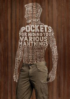 Dockers Typographic Ads | These silhouettes made from type are not only a cool concept, but they're very well executed with the varying sizes, different styles, and diverse textures. It's something that could have been done in a very boring, predictable way, but all the right details were tended to and it turned out beautifully. I love that each one seems to representing a different personality by the typefaces mixed inside the man's silhouette.