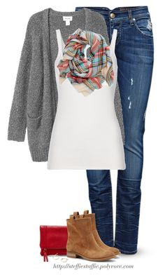 """Gray knit cardigan & plaid blanket scarf"" by steffiestaffie ❤ liked on Polyvore featuring ONLY, Monki, Polo Ralph Lauren, Aerie, Sole Society and J.Crew"
