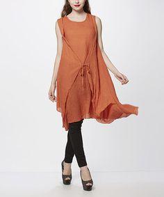 Orange Tie-Waist Tunic
