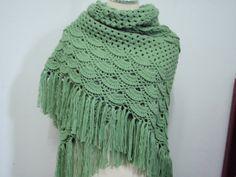 Crochet Triangular Shawl in Soft Green by NRWhandmade on Etsy, $65.00