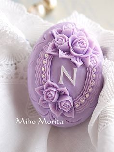 """I carved a soap with """"N"""" on the center of it. This is the gift for Nahomi who won the fruit carving contest which I wrote before. However it may looks quite easy to carve, it is very difficult to m. Lavender Cottage, Lavender Soap, Lavender Color, Savon Soap, Decorative Soaps, Soap Carving, All Things Purple, Soap Molds, Home Made Soap"""