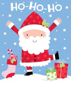 Ho Ho Ho Santa Claus illustration  modern Christmas
