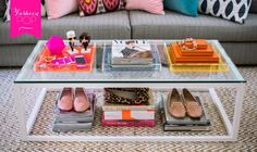 glass coffee table / shoe storage