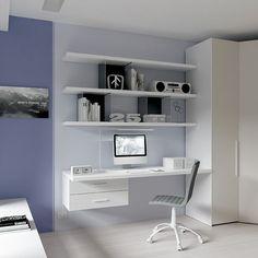 #Scrivania SR10 spessore 40mm in frassino bianco #Wallbox sospeso con #cassetti laccato corda #mensole spessore 40mm in frassino bianco Wallbox trasparenti in policarbonato con schiena laccata grafite #sedia Diva in #ecopelle grafite. YC29 catalogo Team for Young www.moretticompact.com Bedroom Closet Design, Bedroom Desk, Modern Bedroom, Office Space Decor, Study Table Designs, Cute Bedroom Ideas, Tumblr Rooms, Room Paint, Home Interior Design