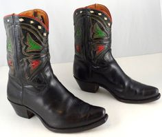 RARE VINTAGE ACME PEE WEE COWBOY BOOTS ~ MENS 9.5 D ~ BLACK LEATHER w/ INLAYS #Acme #CowboyWestern