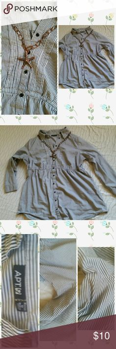 APT. 9 Pin Striped Long Sleeve Button Down APT. 9 Pin Striped Long Sleeve Button Down Very cute pleated dark blue and off white button down 1X. Good Used condition, I was the only owner.  Please see photo above for slight not noticeable discoloration on the under arms. Fit is somewhat big. Middle has stretch where sinched.  Please check out my closet! Please comment if you have questions! Apt. 9 Tops Button Down Shirts