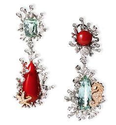 Massimo Izzo náušnice s Coral, akvamarinů a diamanty Aquamarine Jewelry, Coral Jewelry, Gems Jewelry, High Jewelry, Luxury Jewelry, Jewelry Art, Vintage Jewelry, Fashion Jewelry, Jewelry Design