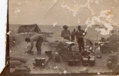 Open Kitchen, Australian soldiers at Zeitoun Egypt late 1915 or early 1916 [no inscription - Probably an open kitchen baking bread at Zeitoun Egypt late 1915 or early 1916. There is a similar photograph in the Australian War Memorial's collection showing perhaps the same group of people from a different angle - see Picture Australia.] [Joseph Cecil Thompson- presumed photographer]