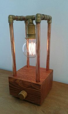 Wood and copper pipe lamp. Dimmable as well! Steampunk retro vintage