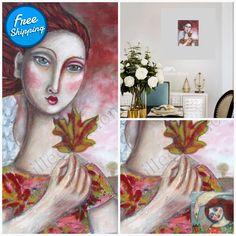 Remembering autumn - acrylic painting, original artwork painting on canvas Autumn Painting, Painting Collage, Mixed Media Painting, Original Artwork, Original Paintings, Easter Paintings, Fluid Acrylics, Whimsical Art, Canvas