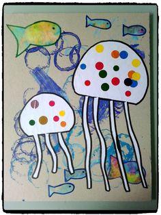 tableau fonds marins, mer et océan, méduse, poissons, bricolage enfant