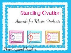 Standing Ovation Music Awards for Student of the Month or your End of the Year award ceremony and celebration. Free for a limited time. New Teachers, Music Teachers, Student Of The Month, Middle School Music, Music Classroom, Classroom Ideas, Standing Ovation, Reading Music, Elementary Music