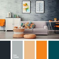 Beautiful color palette with subdued and dark slate blues, a pale terra cotta, and a spark of orange. – color of life Living Room Orange, Living Room Grey, Living Room Decor, Living Room Color Schemes, Living Room Designs, Kitchen Color Schemes, Gray Color Schemes, House Color Schemes Interior, Good Living Room Colors