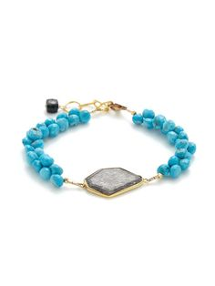 Rutilated Quartz & Turquoise Briolette Bracelet by Alanna Bess Jewelry at Gilt