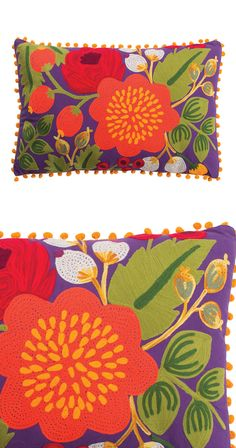 Cheerful colors are in full bloom with this artsy accent. Skillfully stitched by hand, our Flora Pillow boasts vibrant hues and a bold floral print that's anything but shy. Its bright pom-pom trim adds...  Find the Flora Pillow, as seen in the An Artist's Hacienda Collection at http://dotandbo.com/collections/an-artists-hacienda?utm_source=pinterest&utm_medium=organic&db_sku=128324