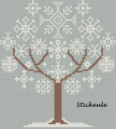 snowflake tree cross stitch (site is in German, but contains many free patterns that don't require translation) Xmas Cross Stitch, Cross Stitch Charts, Cross Stitch Designs, Cross Stitching, Cross Stitch Embroidery, Embroidery Patterns, Cross Stitch Patterns Free Christmas, Cross Stitch Freebies, Christmas Embroidery