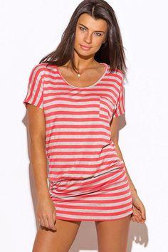 womens coral stripe short sleeve banded tunic mini dress