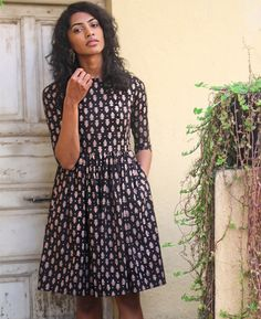 Hand Block Printed Cotton Fit and Flare Dress Buy block print cotton fabric https://www.etsy.com/shop/Indianlacesandfabric?section_id=16572882&ref=shopsection_leftnav_3