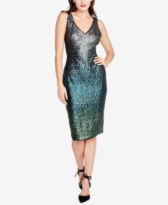 Rachel Rachel Roy Sequined Sheath Dress - Green 14