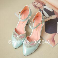 New 2014 Woman sandals high-heeled sandals lplain ankle straps chunky heel women's pumps platform shoes 2014 spring US $28.97