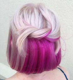 Hair Color Shades, Hair Color Pink, Blonde Color, Hair Colours, Blonde Pink, Color Fuchsia, Brown Blonde, Short Blonde, Gradient Color