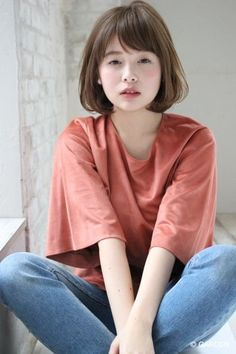 【【Un ami 表 ã ã ã ã ã ã ã ã ã ... Short Hair Styles For Round Faces, Short Hair With Bangs, Short Hair With Layers, Long Hair Cuts, Hairstyles With Bangs, Straight Hairstyles, Hair Bangs, Japanese Short Hair, Japanese Haircut