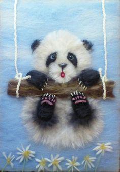 Needle Felted Animals, Felt Animals, Nuno Felting, Needle Felting, Bear Felt, Diy And Crafts, Paper Crafts, Cute Paintings, Sketches