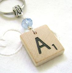 Scrabble Keychain Beaded Personalized Green Pink Gold Blue Lilac Red Clear, Gift Accessory Choice of Letter, Extra for J&K: Ships to US Scrabble Letter Crafts, Scrabble Wall Art, Wooden Scrabble Tiles, Christmas Craft Fair, Personalised Frames, Block Craft, Diy Keychain, Wine Glass Charms, Craft Fairs