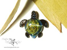 Baby Jungle Turtle Pendant - Handcrafted Glass Jewelry by Creative Flow Glass.