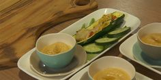 Try this Zucchini Boats with Home Made Hummus and Cucumber Chips recipe by Chef Lisa Curry. This recipe is from the show Celebrity Come Dine with Me Australia. Cucumber Chips, Cucumber Avocado Salad, Cucumber Recipes, Dehydrated Zucchini Chips, Zucchini Chips Recipe, Healthy Low Carb Snacks, Healthy Chips, Light Appetizers
